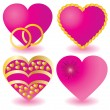 Set of pink valentine`s hearts — Vector de stock