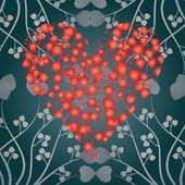 Valentijn kaart hart en krullen, — Stockvector