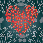 Valentine card heart and curls, — 图库矢量图片