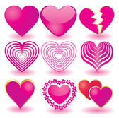 Set of pink valentine`s hearts, part 2 — Stock Vector