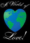 Carte de la saint-valentin avec amour planète sur fond noir — Vecteur