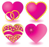 Set of pink valentine`s hearts — Stock Vector