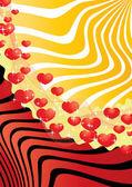 Cartolina di san valentino con strisce e cuori — Vettoriale Stock