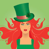 Leprechaun girl — Vector de stock