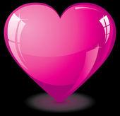 Pink glass heart — Stock Vector