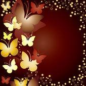Gold butterflies — Stock Vector