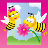 Bees on pink background — Stock Vector