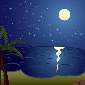 Night sea — Stock Vector