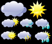 Weather icons on black background — Stock Vector