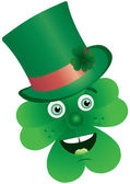 Clover with face in top-hat — Stock Vector