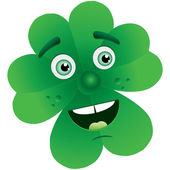 Clover with face — Stock Vector