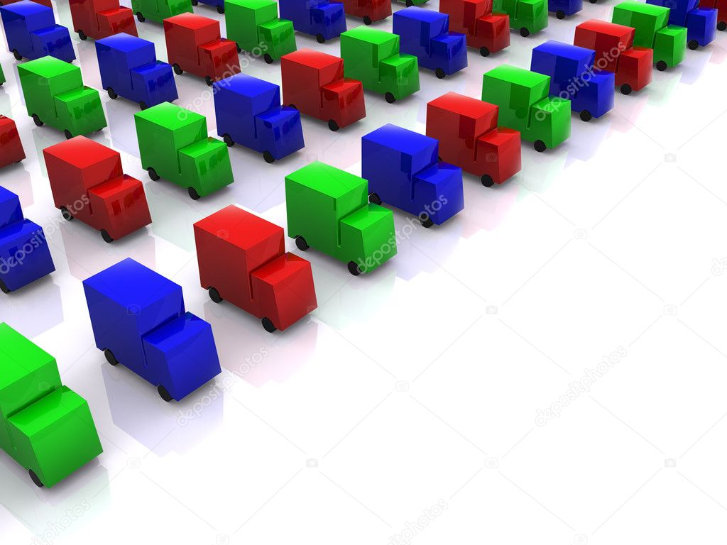 Row of colored RGB cars. 3d — Stock Photo #1038306