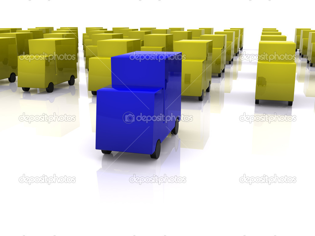 Blue leadership of cars. 3d — Stock Photo #1038319