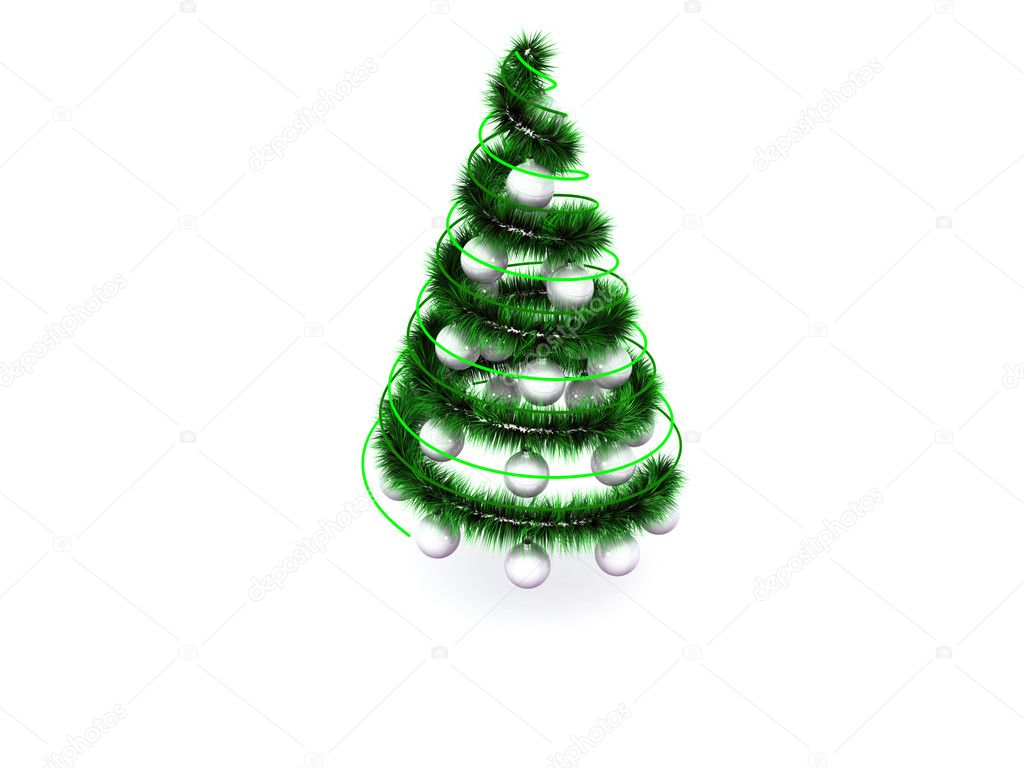 Abstract spiral christmas tree with decoration. 3d — Stock Photo #1039099