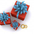 Present boxes with rings. 3D — Stock Photo #1043254