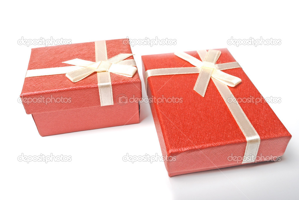 Red present boxes on white — Stock Photo #2380135