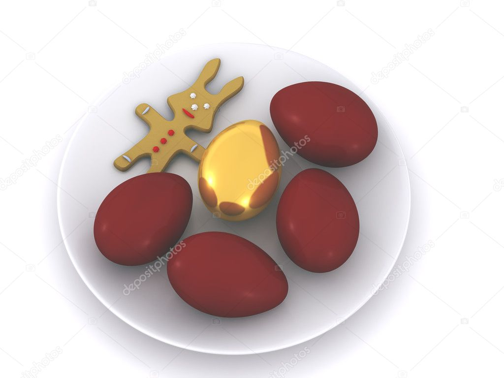 Easter eggs on plate. 3d  Stock Photo #2569685