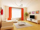 современный интерьер гостиной комнаты — Стоковое фото