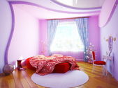 Interior of a bedroom for the girl — Stock Photo
