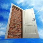 Door put by a bricklaying — Foto de Stock
