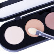 Make-up applicator on eye shadows - Stock Photo