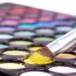 Eyeshadows with professional brush — Stock Photo