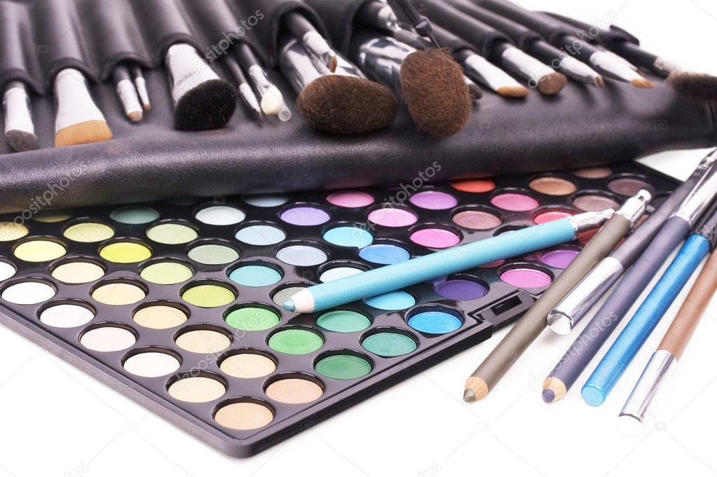 Professional tools for make-up artists on white — Stockfoto #1058915
