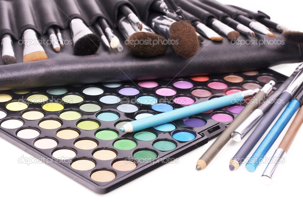Professional tools for make-up artists on white  Foto de Stock   #1058915