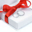 Closed up rings in ring box — Stock Photo