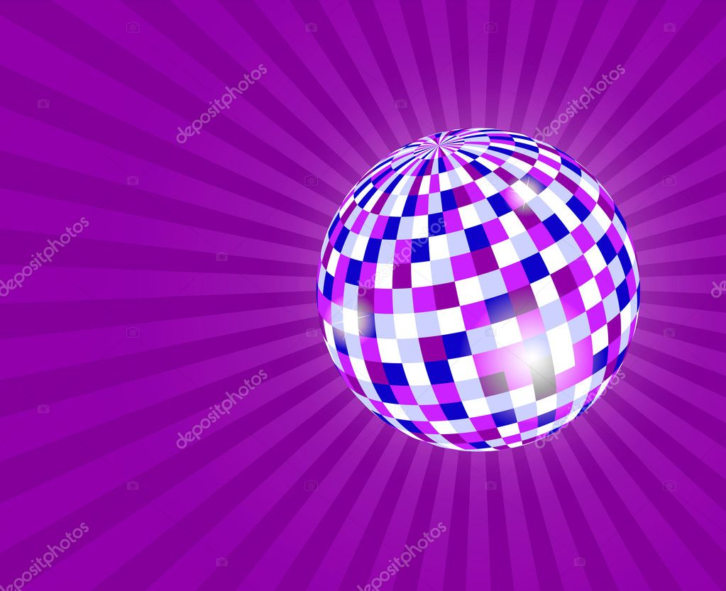Mirrorball on violet background  Stock Photo #1065964