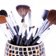 Professional brushes in mirror can — Stock Photo
