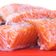 Raw salmon fillets - Stock Photo