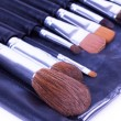 Make-up brushes in black l case — Stock Photo