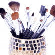 Foto Stock: Professional brushes in can