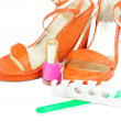 Woman shoes with pedicure tools — Photo