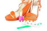 Woman shoes with pedicure tools — Stock Photo