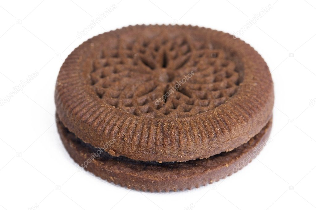 Chocolate sandwich cooky on white — Stock Photo #1275811
