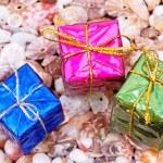 Present boxes on seashell — Stock Photo