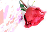 Single rose with present — Stock Photo