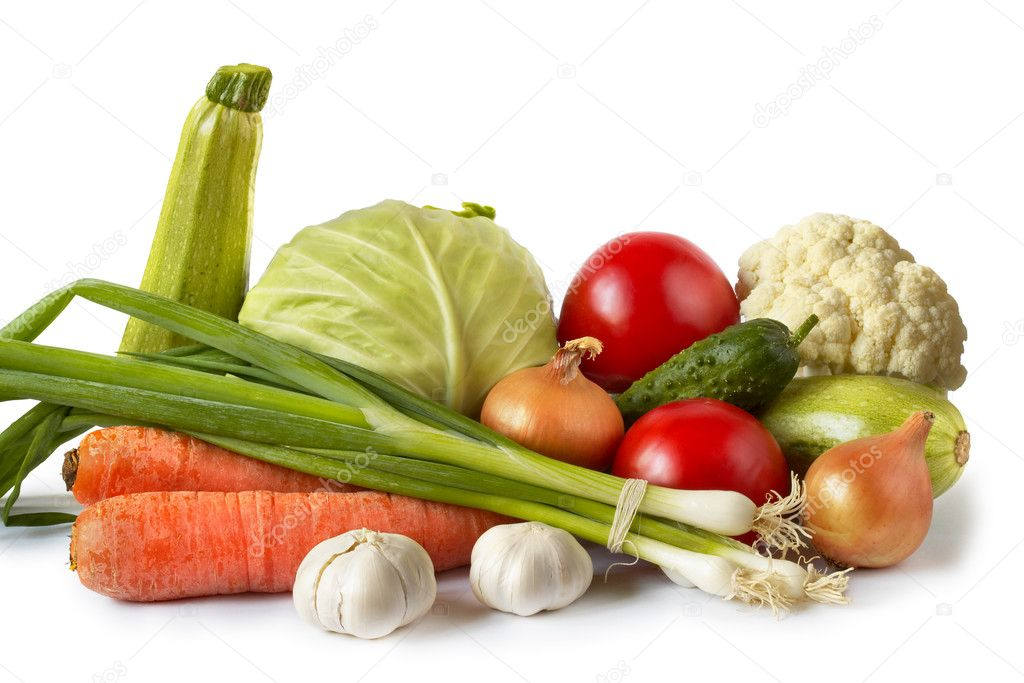 Common vegetables still life isolated over white background  Foto de Stock   #1036799