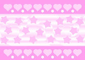 Pink hearts and stars background — Stock Vector