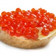 Red caviar open sandwich — Stock Photo