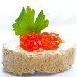 Red caviar open sandwich — Stock Photo #1040598