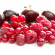 Raspberries, currants and cherries - Stock Photo