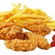 Chicken and French fries — Stockfoto