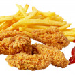 Chicken and French fries - Stockfoto