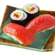 Sushi  and roll with salmon isolated ove - Stock Photo