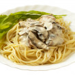 Pasta with creme mushroom sauce (path is — Stock Photo