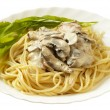 Royalty-Free Stock Photo: Pasta with creme mushroom sauce (path is