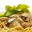 Pasta with creme mushroom sauce (path is - Stock Photo
